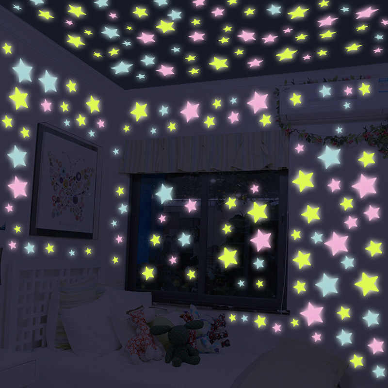 100pcs 3D Stars Glow in the Dark Luminous Wall Stickers for Kids Bedroom Room Roof Plastic Wall Decal Home Decoration Poster