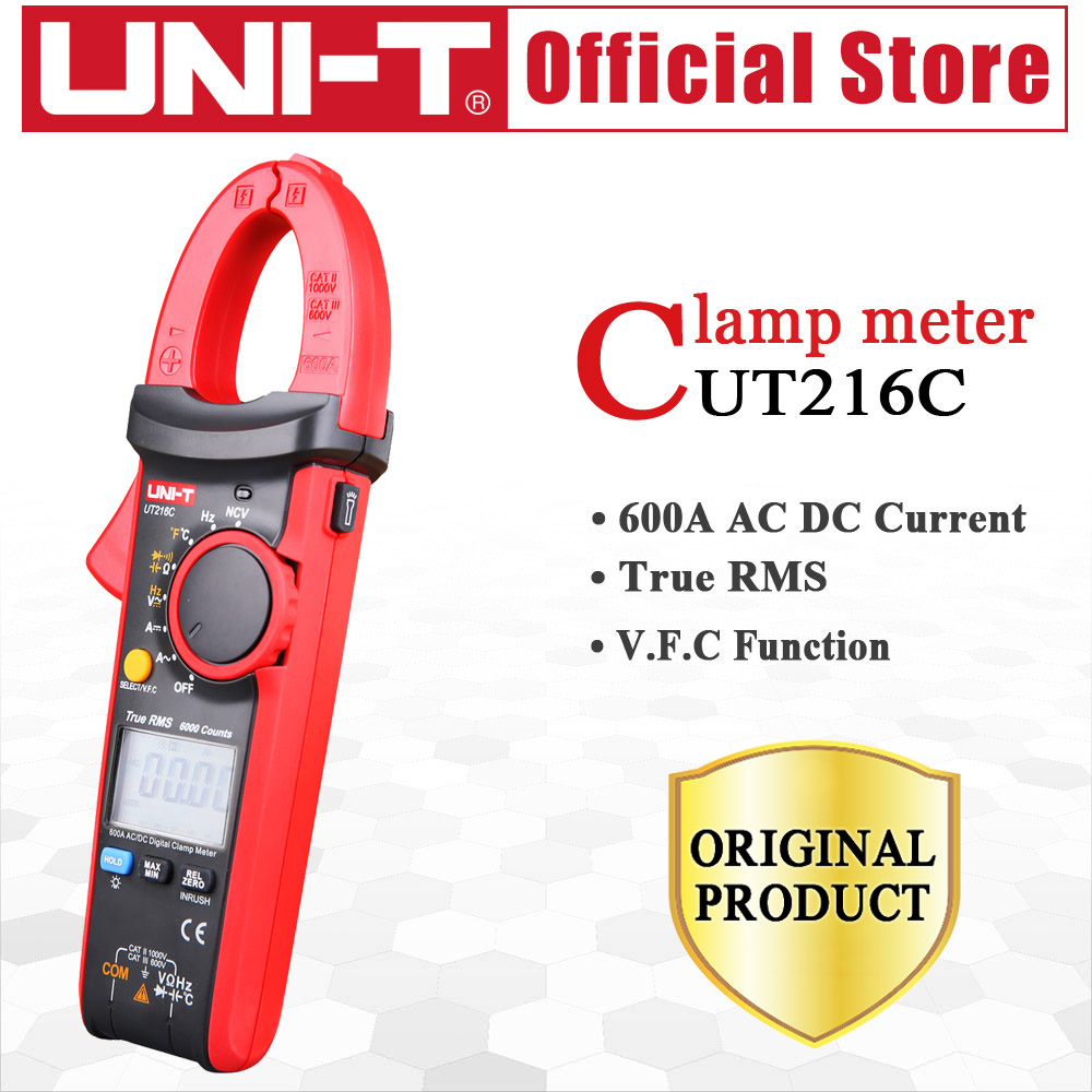 UNI-T UT216C 600A True RMS Digital Clamp Meters NCV V.F.C Diode LCD Display Work Light Temperature Test AC DC Auto RangeUNI-T UT216C 600A True RMS Digital Clamp Meters NCV V.F.C Diode LCD Display Work Light Temperature Test AC DC Auto Range