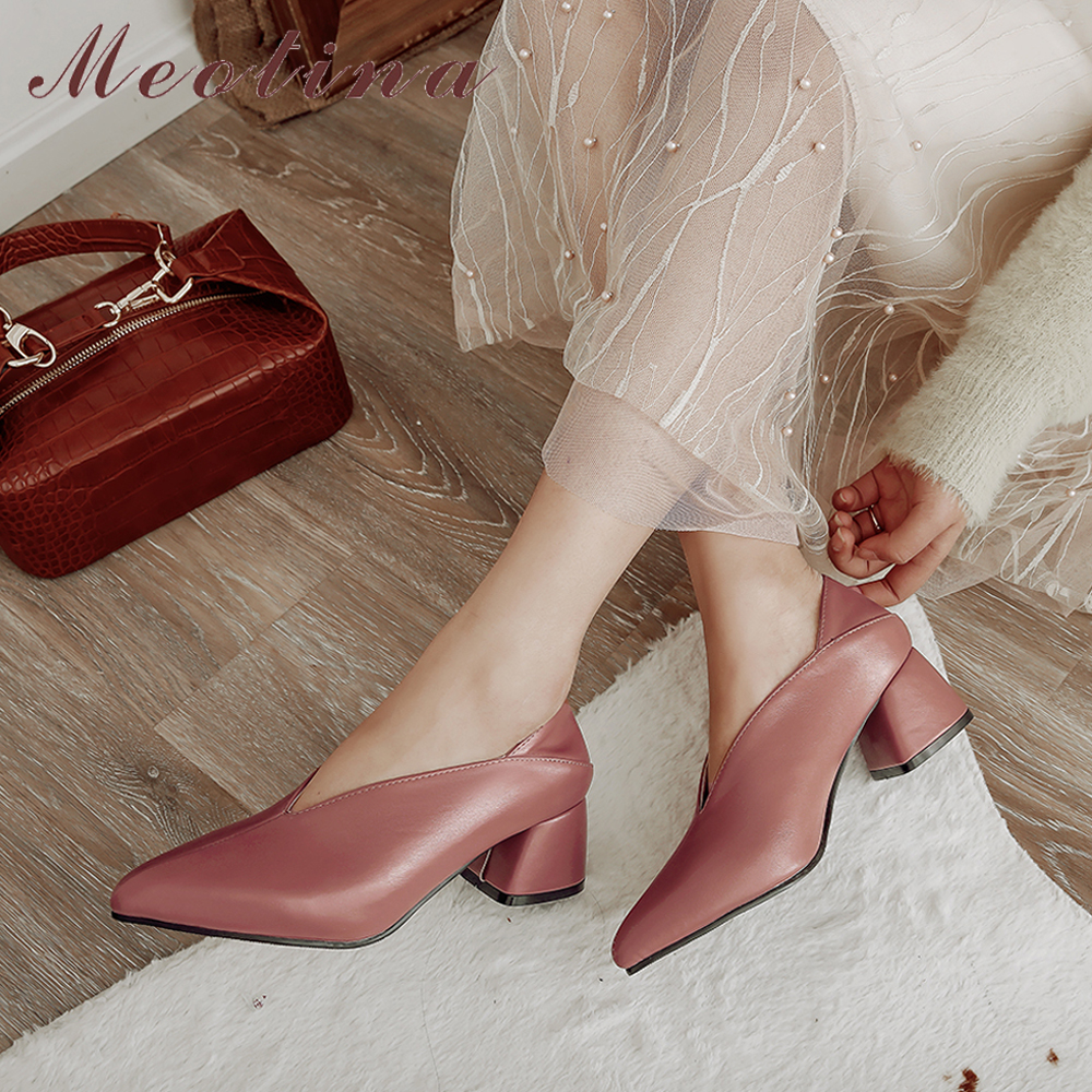 Meotina High Heels Women Pumps Fashion Square High Heels Mules Shoes Pointed Toe Office Ladies Shoes Spring New Large Size 33-46