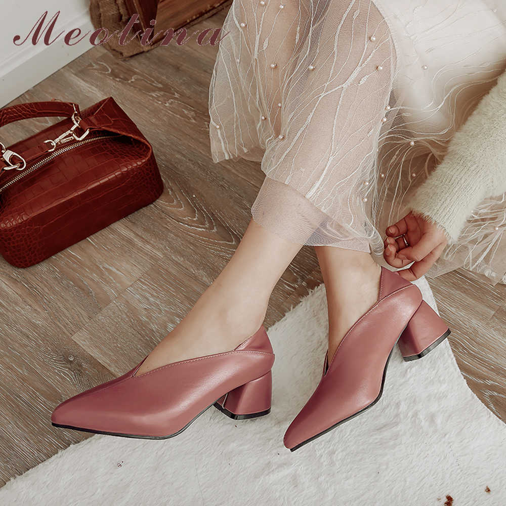 Meotina, tacones altos para mujer, zapatos de tacón alto cuadrado a la moda, zapatos de mujer con punta en punta, zapatos de oficina para mujer, Primavera, nuevo, talla grande 33-46