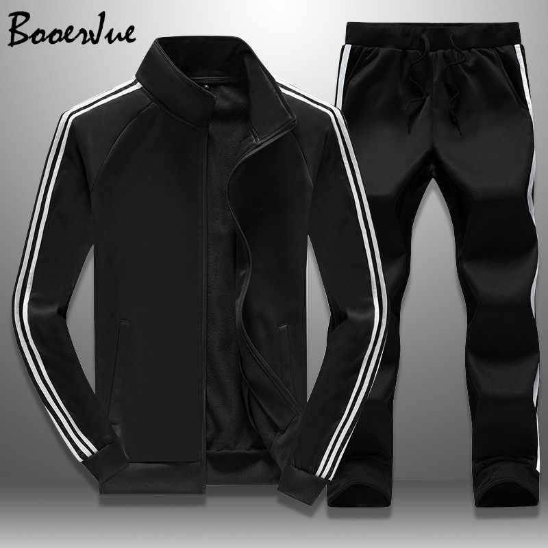 Chándal Casual Hombre otoño chaquetas con cremallera + Pantalones 2 piezas conjuntos de ropa deportiva hombre chándal ajustado traje deportivo moda M-4XL