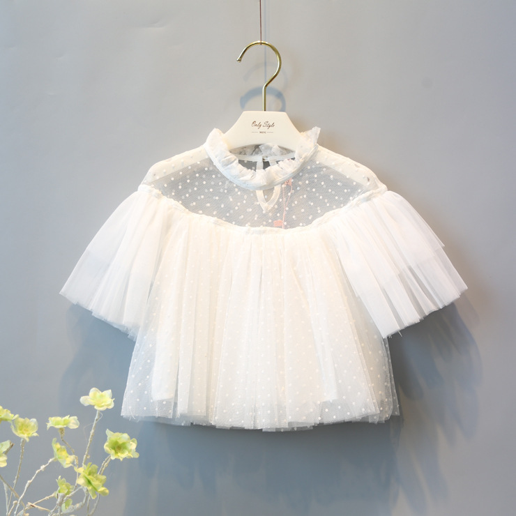 Fashion Girls White Mesh Lace Short Sleeve Hollow Shirt With Dot Printed Kids Summer Clothes Children Outfits Tops Tee Blouses