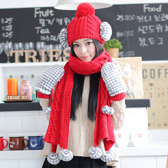 2017 Winter Hat For Siggi Hat Knitted Scarf Gloves Piece Set Female Autumn And Winter Thickening Color Block Decoration Suite
