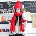 2017 de Invierno Sombrero De Siggi Sombrero hecho Punto Bufanda Guantes Piezas Conjunto Femenino del Otoño Y Engrosamiento de Invierno de Color la Decoración Del Bloque Conjunto