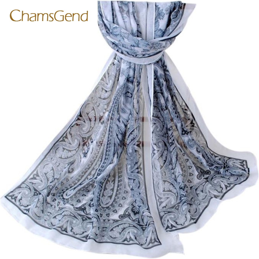 Women Autumn Winter Bohemia Chiffon Long Scarves Painted Soft Long Wraps Shawl Scarves foulard from india ap21