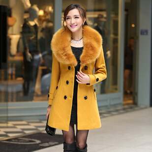 Plus Size M-5XL Winter Coat Women 2015 New Fashion Slim Big Fur Collar Double-Breasted Womens Wool Blended Hot Sale