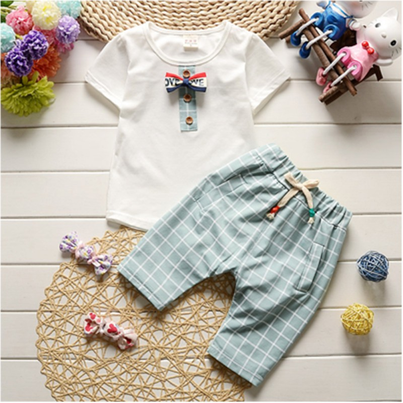 Summer Baby Clothes Set Cartoon Short Sleeve T-shirt Tops + Plaid Pants Suit Kids Boy Trousers 12M-4Y family fashion summer tops 2015 clothers short sleeve t shirt stripe navy style shirt clothes for mother dad and children