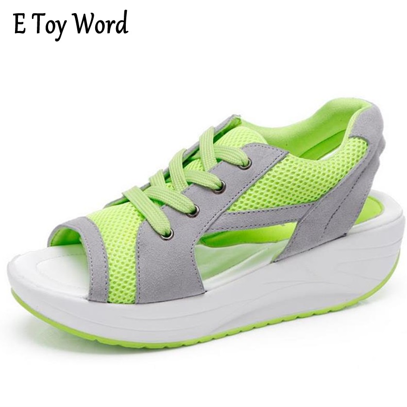 Fashion Summer Women s Sandals Casual Sport Mesh Breathable Shoes 2017 Women Ladies Wedges Sandals