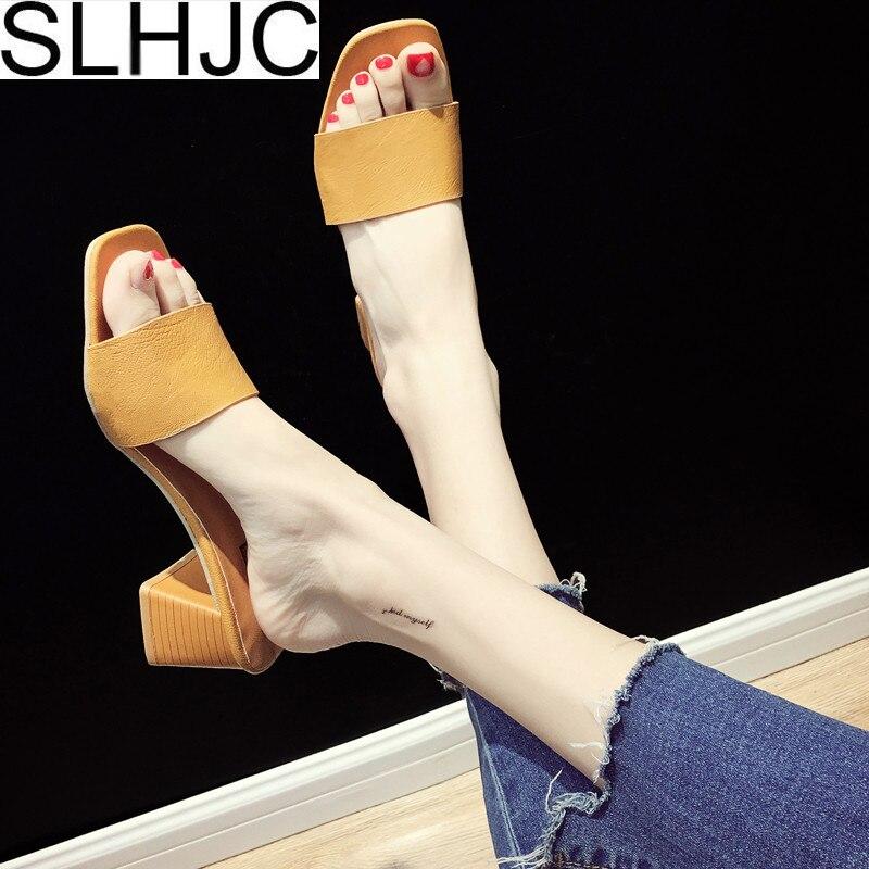 SLHJC туфли на высоком каблуке летние Для женщин слипоны Туфли-лодочки с открытым носком квадратный каблук вне летний слайды 6 см каблуке 2018 Но...
