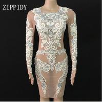 2018 блестящее кружевное Сетчатое платье с жемчужинами, сексуальное платье на день рождения, празднование, вечерние платья, Одежда для танцев