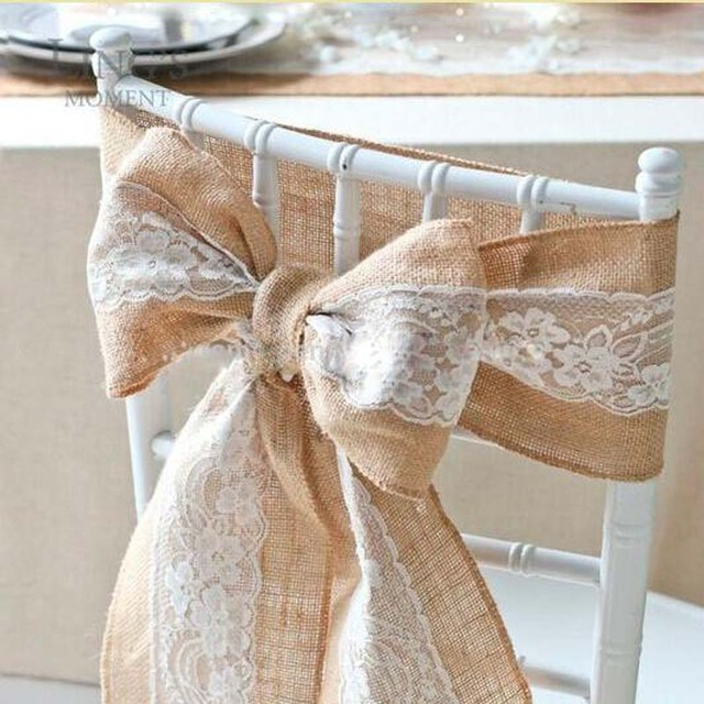 Vintage Burlap Lace Embroidery Wedding Chair Sashes Jute Ribbon Covers Party Decoration Chaise