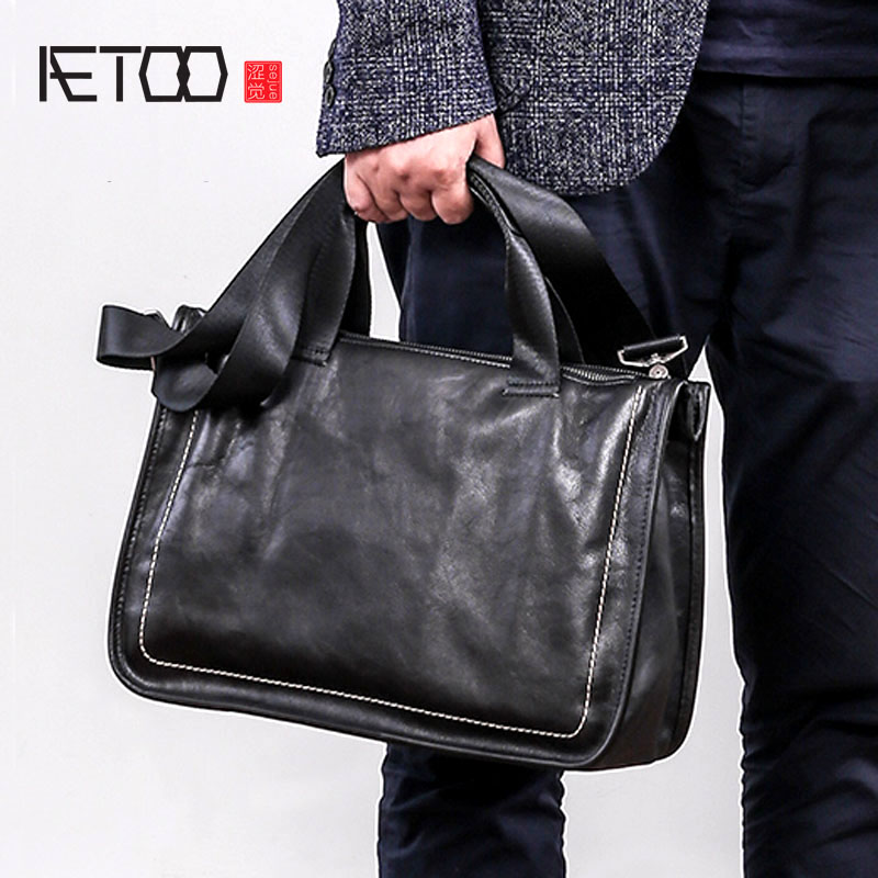 Retro Business Men s Briefcases 14 Inches Genuine Cow Leather Solid Color Zipper Pocket Laptop Notebook