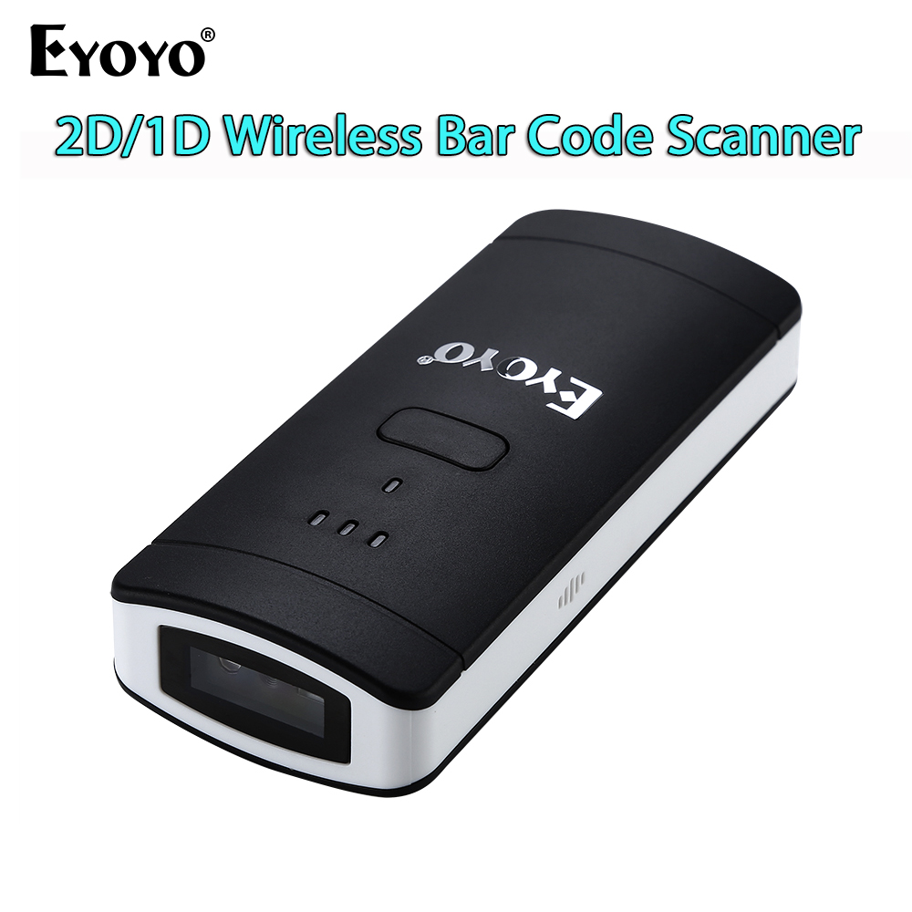 EYOYO EY-002S Pocket 2D Barcode Scanner Wireless Bluetooth QR Code Reader For IOS Andriod MAC Windows PC Computer Wholesale eyoyo ey 002s wireless 2d scanner 1d 2d pdf417 qr code pocket wireless barcode scanner for android ios mac windows