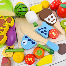 22 Children Cutted Wooden Food Toy Kitchen Pretend Play Kids Simulation Wooden Fruit Vegetables with Magnet for Learning Cooking(China)