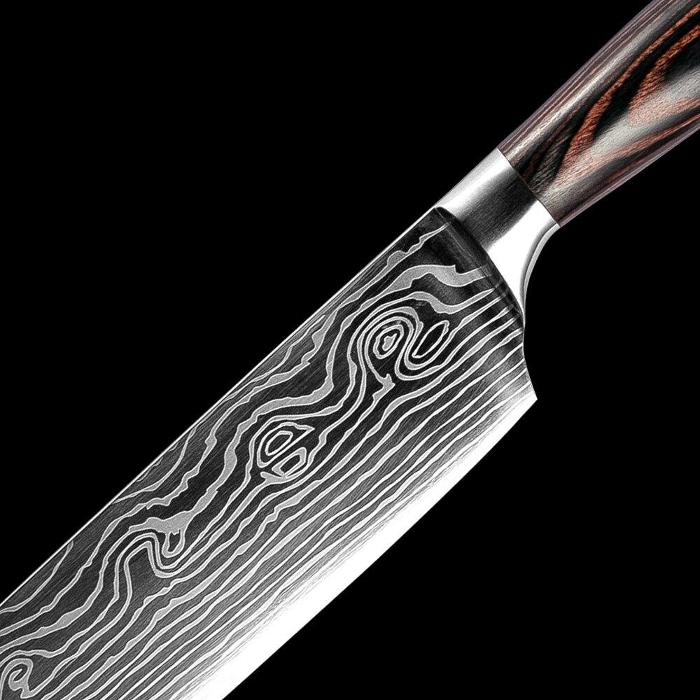 XITUO 5 pièces Cuisine Ensembles de Couteaux En Acier Damas Japonais Motif Couteau Santoku Couteau D'office Trancher Utilitaire Poisson Outil Cadeau - 3