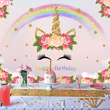 QIFU Unicorn Party Backdrop Happy Birthday Decorations Banner Cake Topper Balloons Supplies