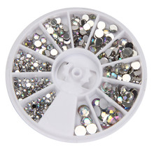 Round 3D Acrylic Nail Art Gems Crystal Rhinestones DIY Decoration Wheel 2017 Hot dropshipping