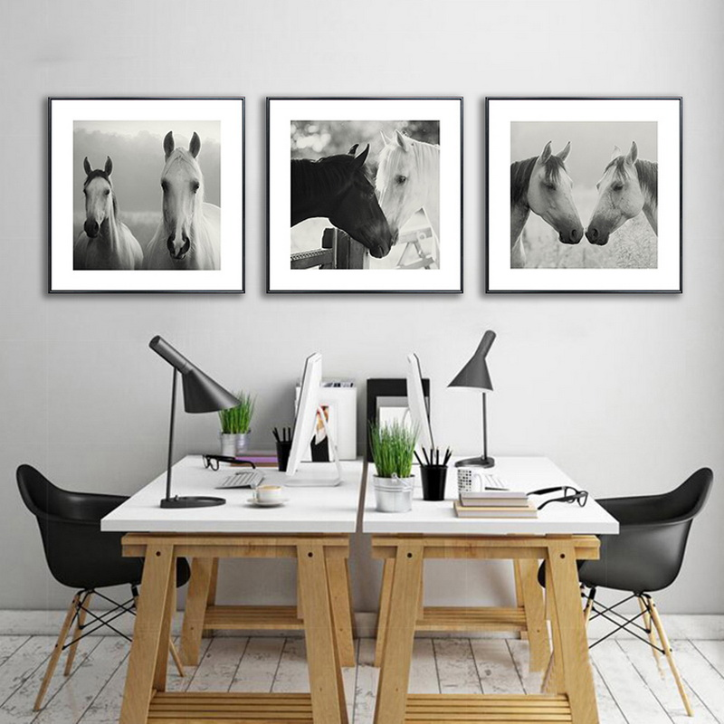 Holland Leinwand Malerei moderne Ölgemälde Tier Pferd Kopf - Wohnkultur - Foto 1