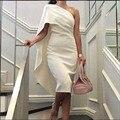 Árabe De um ombro Robe De Cocktail Vestidos Tea comprimento branco Dubai mulheres manto partido Prom Dress Vestidos 2016 Vestidos De Coctel