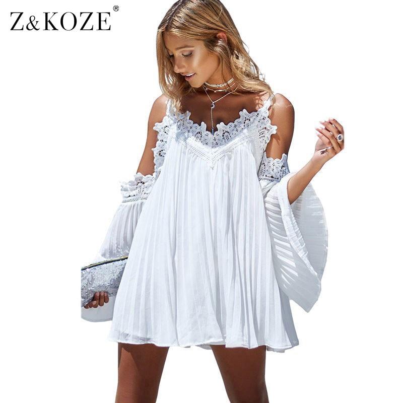zkoze boho off shoulder lace splice summer beach dress