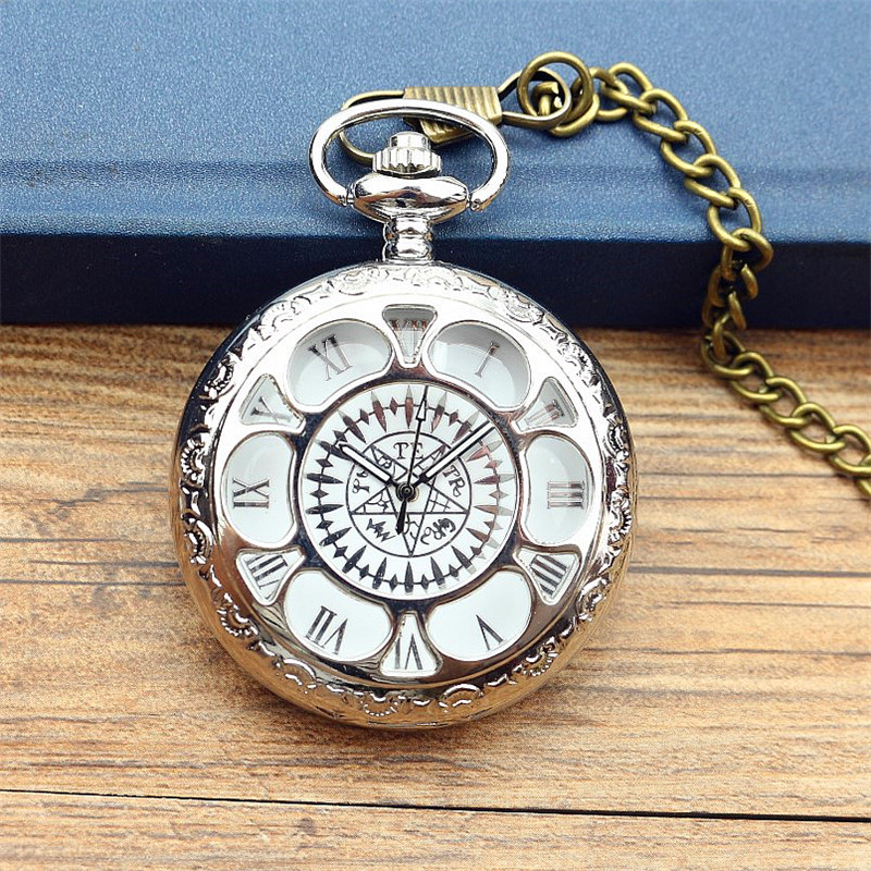 Antique Hollow Pocket Watch Kuroshitsuji Black Magic Pattern Design Casual Pendant Quartz Men Women Necklace Gift Montre Gousset