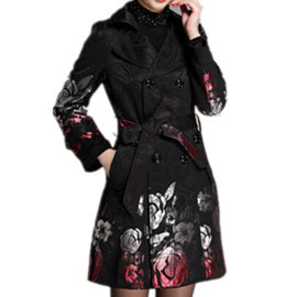 Noir Automne Tranchée Marque 2016 Trench Imprimé Floral Femmes Ceinture Nouveau Long Manteau vZaOg1Yq