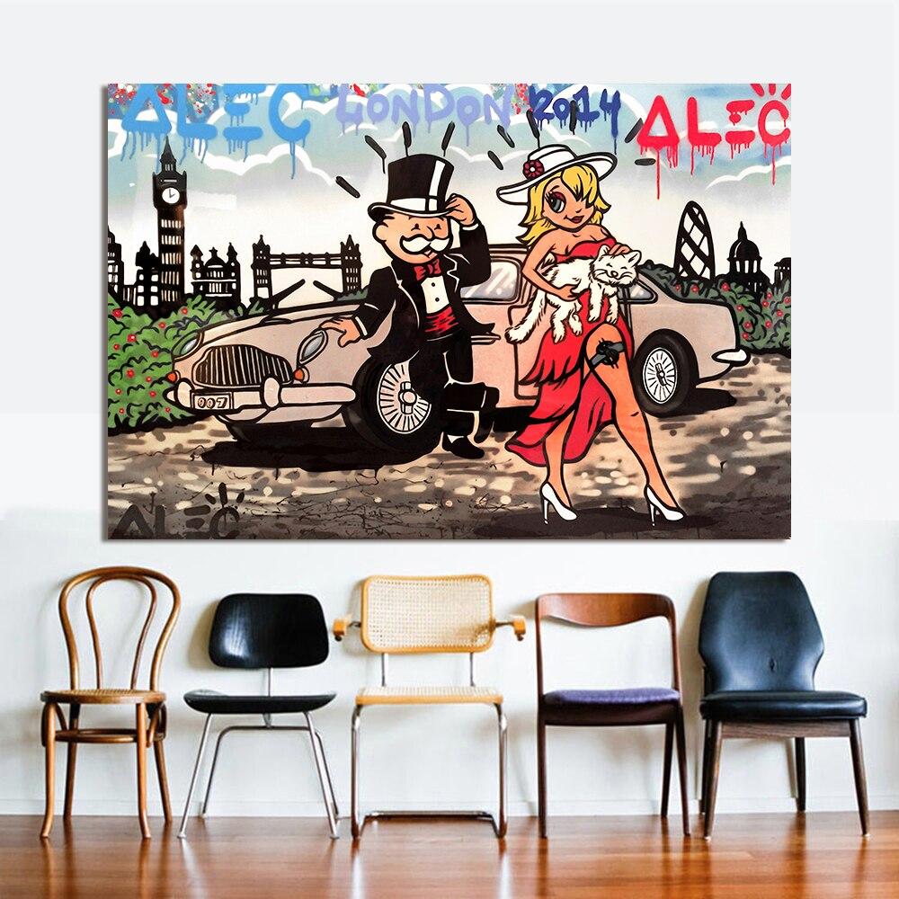 Graffiti art home decor - Hdartisan Graffiti Canvas Art Oil Painting Alec Monopoly Bond London Wall Pictures For Living Room Home Decor Frameless