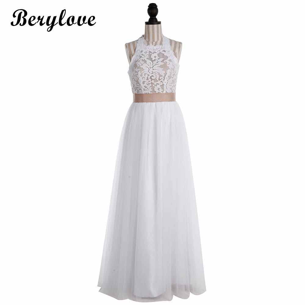3998997a92c ... Boho Beach White Lace Wedding Dresses 2018 Women Tulle Halter Backless Wedding  Gowns Cheap Bridal Dress ...