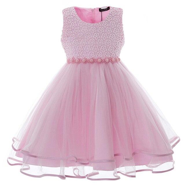Mädchen Kleid Kinder Party Mesh Kleider Vintage Perlen Baby Hochzeit ...