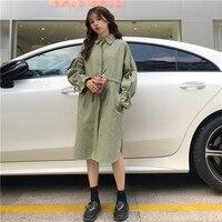 Корейский Тренч для Для женщин длинный рукав Длинная куртка с капюшоном свободные Для женщин тонкие хлопковые пальто