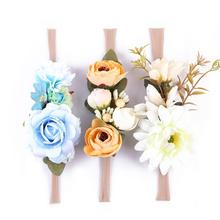 3Pcs Artificial Flower Baby Girl Headbands Elastic Nylon Ribbon Childrens Hairband Hot Sale Newborn Hair Accessories