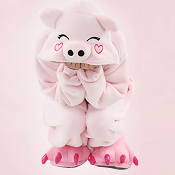 Adults Lovely Animal Onesies Costumes Pink Pig Animal Pajamas Costume For Halloween Performance Winter Warm Pyjama Homewear