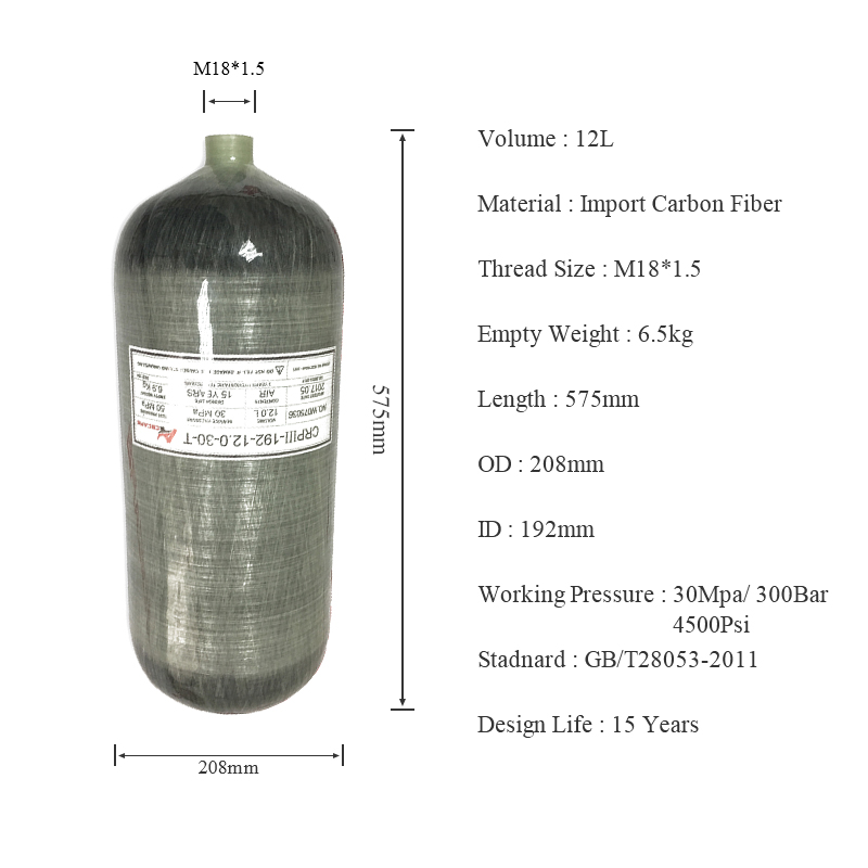 AC3120 Paintball Softgun Diving Tank 12L Carbon Cylinder High Pressure 4500 Psi For Scuba Pcp Compressor 300 Bar Condor