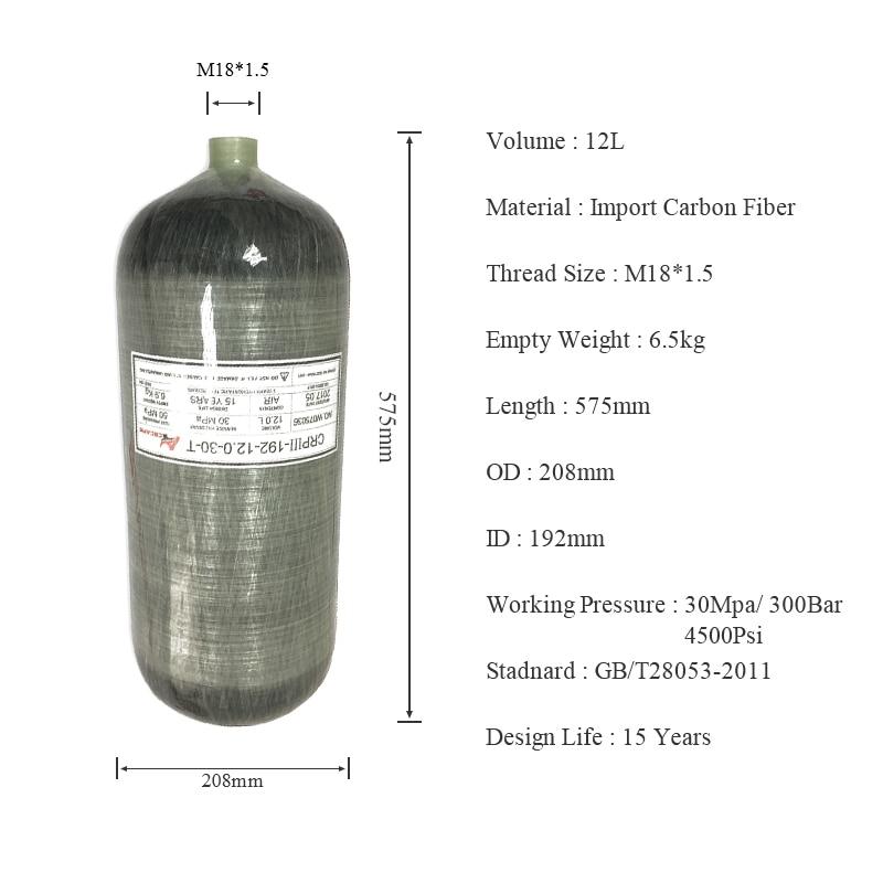 AC3120 Paintball Softgun Diving Tank 12L Carbon Cylinder High Pressure 4500 Psi For Scuba Pcp Compressor 300 Bar Condor