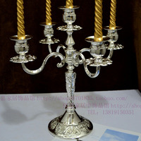 Home supplies candle table Silver carved classical five head candlestick candle holders candlebra