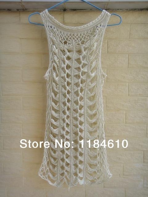 Bohemian Handmade Crochet Beach Dress Women Long Tank Tops