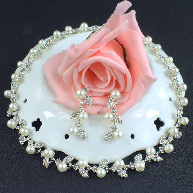 Jiayijiaduo Imitation Pearl Wedding Bridal Silver-color Jewelry Sets for Women Flower Choker Necklace Earrings Sets