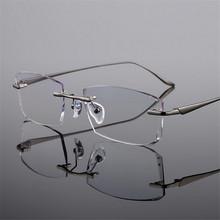 Titanium eyeglasses rimless frame fashion exquisite diamond trim mens eyewear prescription Frameless myopic glasses