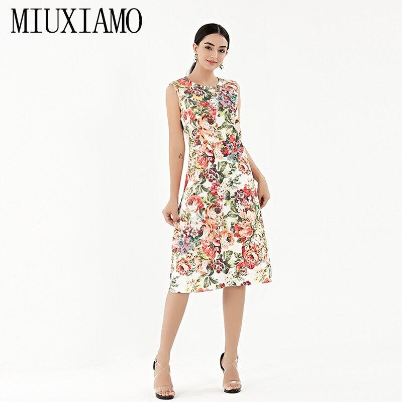 MIUXIMAO TOP qualité 2019 nouvelle robe de broderie mode a-ligne o-cou diamants impression de fleurs tenue décontractée femmes vestidos
