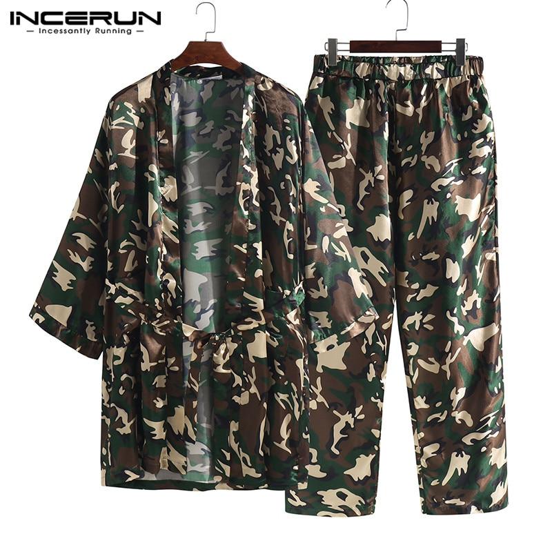 INCERUN Men's Elastic Waist Stain Long Sport Pants Loose Men Jacquard Camouflage Print Lounge Pants Leisure Trousers Pajamas 5XL
