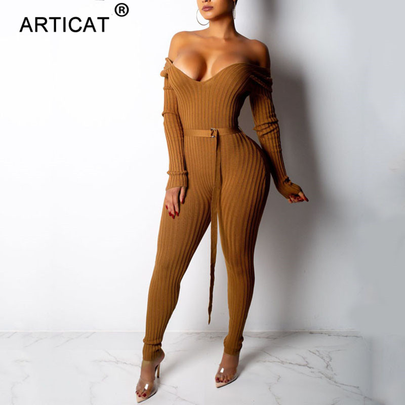 Articat Ribbed Knitted Sexy   Jumpsuit   Women Deep V-Neck Backless Bodycon Bandage Autumn Winter Rompers Casual Party Club Overalls