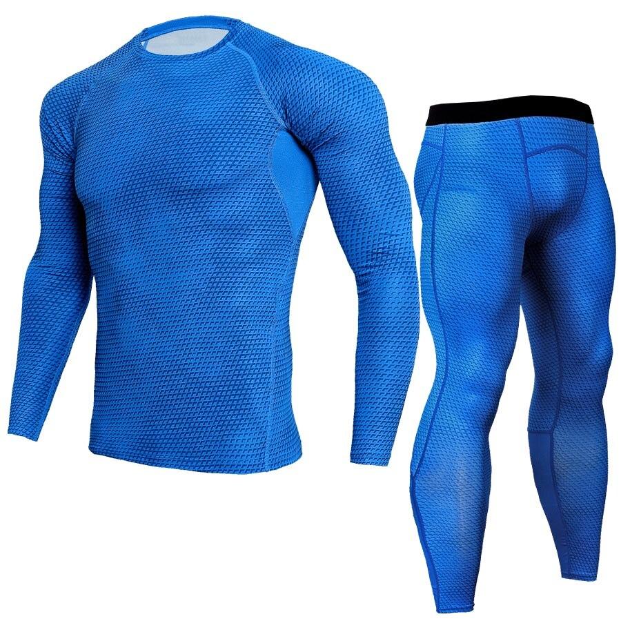 Leggings Men Fitness Compression Sets T Shirt 3D Print MMA Crossfit Muscle Tops