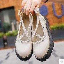 9280e3ab7 Doce primavera e no verão das mulheres novas oco sapatos de fivela fêmea PU  bolo com