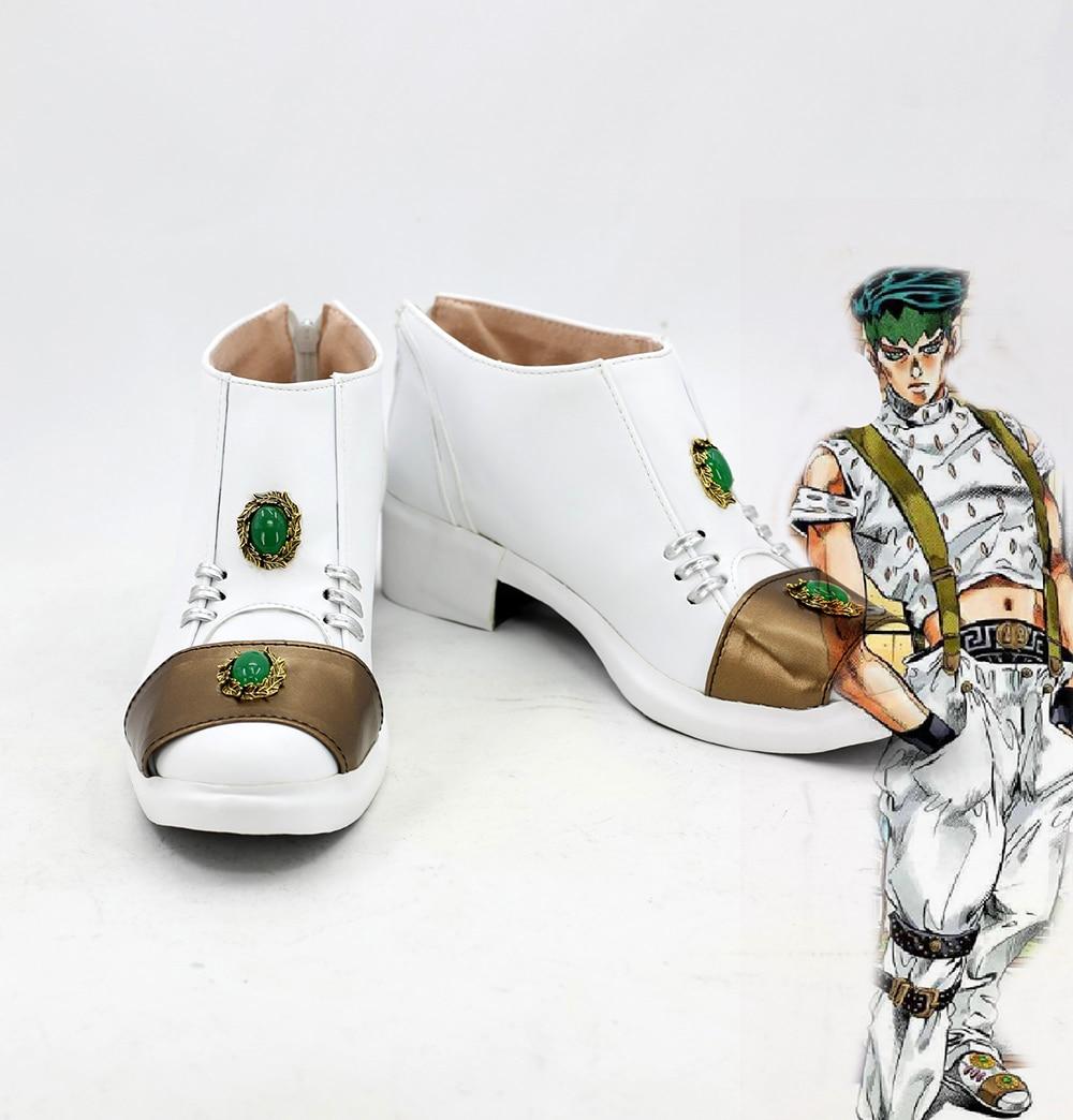 Rohan Kishibe Shoes Cosplay JoJo s Bizarre Adventure Cosplay Rohan Kishibe White Shoes Boots Cosplay Custom