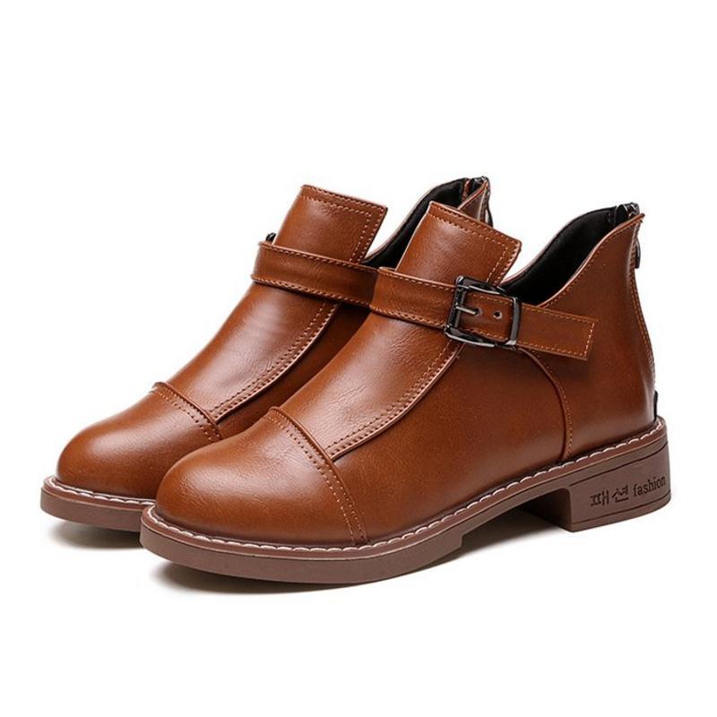 marrón Hebilla Simple 35 Metal Negro 40 Moda Mujer Botas Calzado Invierno  Tamaño Tobillo Kaizikarzi Zapatos ... 56c907686343