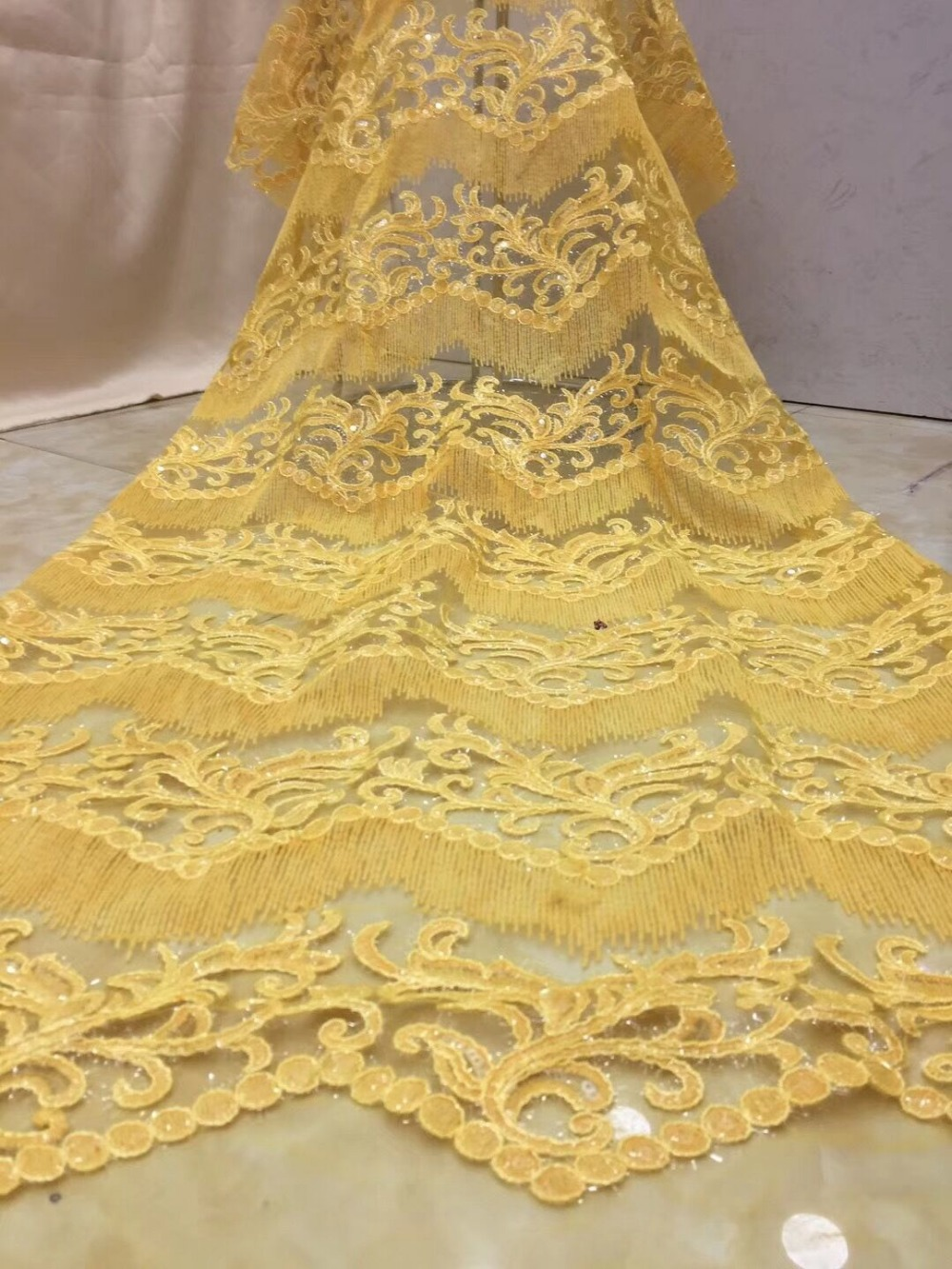 fashionable tulle embroidery french net lace fabric JIANXI C 91001 with sequins for party dress