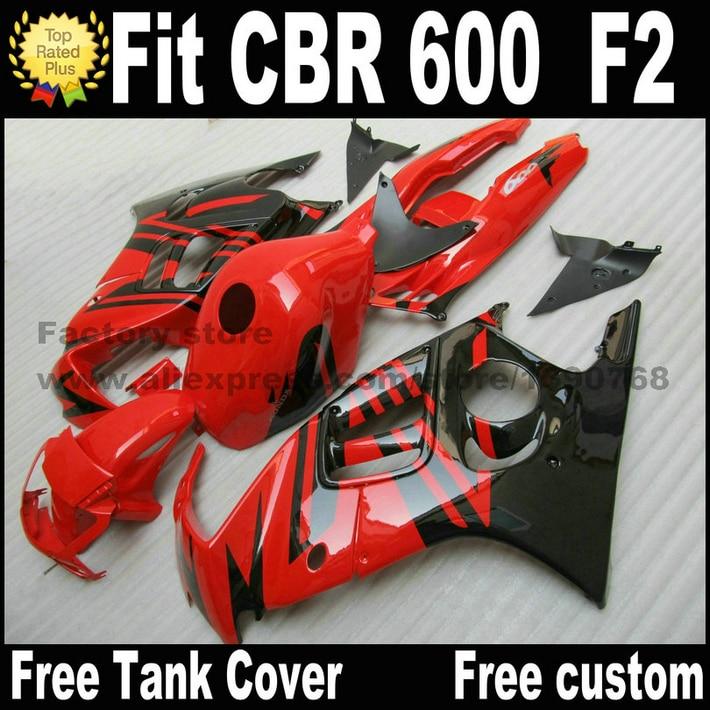 Pièces de moto pour HONDA CBR 600 F2 carénage kit 1991 1992 1993 1994 carénages rouge noir CBR600 91 92 93 94 CV78