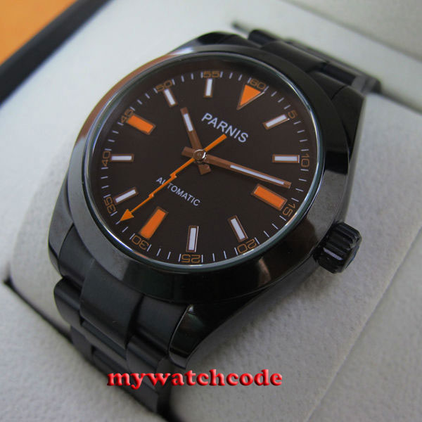 40mm Parnis black dial PVD case sapphire glass MIYOTA automatic Mens Watch P264 42mm parnis withe dial sapphire glass miyota 9100 automatic mens watch 666b