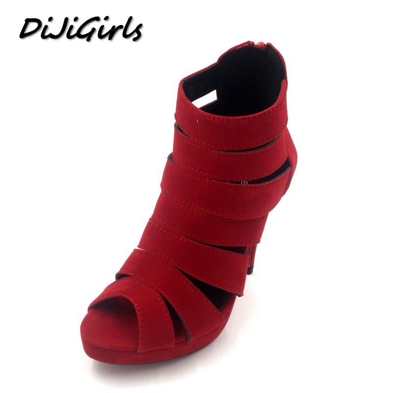 DiJiGirls Cut-Outs Gladiator Women Pumps Peep Toe High Heels Sandals Shoes Woman Party Wedding Dress Stiletto Heels Shoes Zipper fashion buttons rivet studs high heels designer gladiator sandals red black women pumps party dress sexy wedding shoes woman