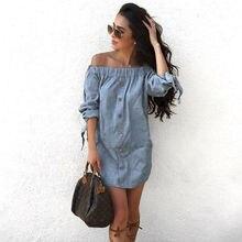 Women Off Shoulder Mini Dress Denim Jeans Tunic Loose Shirt S M L Xl